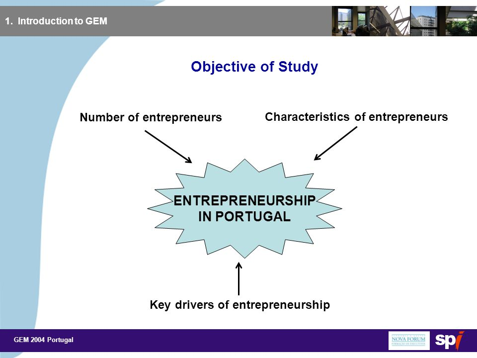 GEM 2004 Portugal Key Drivers of Entrepreneurship in Portugal (5) 3.
