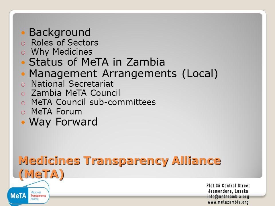 Medicines Transparency Alliance (MeTA) Background o Roles of Sectors o Why Medicines Status of MeTA in Zambia Management Arrangements (Local) o National Secretariat o Zambia MeTA Council o MeTA Council sub-committees o MeTA Forum Way Forward