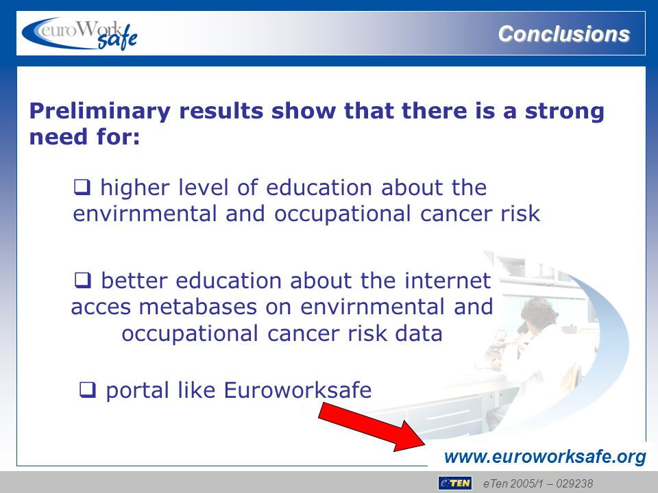 eTen 2005/1 – 029238 www.euroworksafe.org Conclusions Preliminary results show that there is a strong need for:  higher level of education about the envirnmental and occupational cancer risk  better education about the internet acces metabases on envirnmental and occupational cancer risk data  portal like Euroworksafe