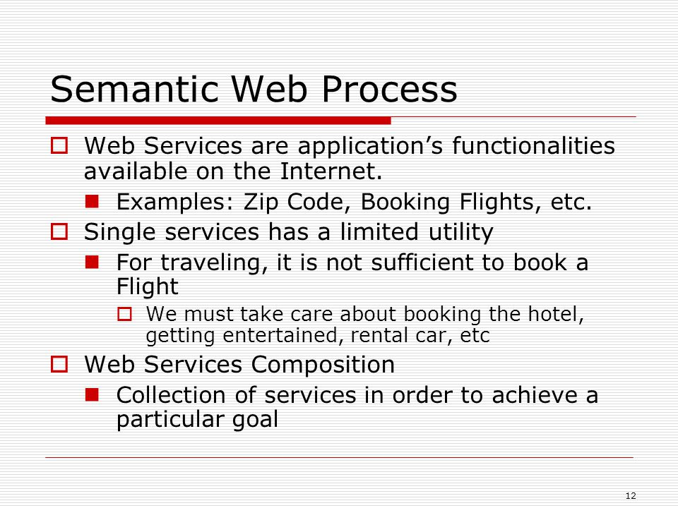 12 Semantic Web Process  Web Services are application's functionalities available on the Internet.