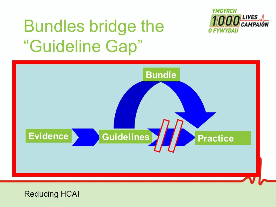 "Reducing HCAI Bundles bridge the ""Guideline Gap"" Evidence Guidelines Practice Bundle"