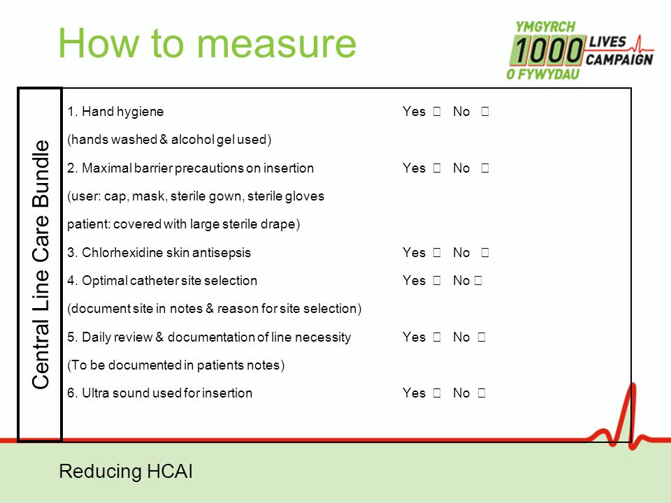 Reducing HCAI How to measure 1. Hand hygieneYes No (hands washed & alcohol gel used) 2. Maximal barrier precautions on insertionYes No (user: cap, mas