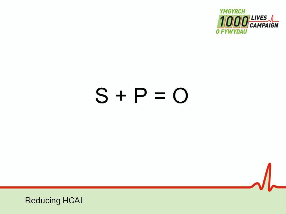 Reducing HCAI S + P = O