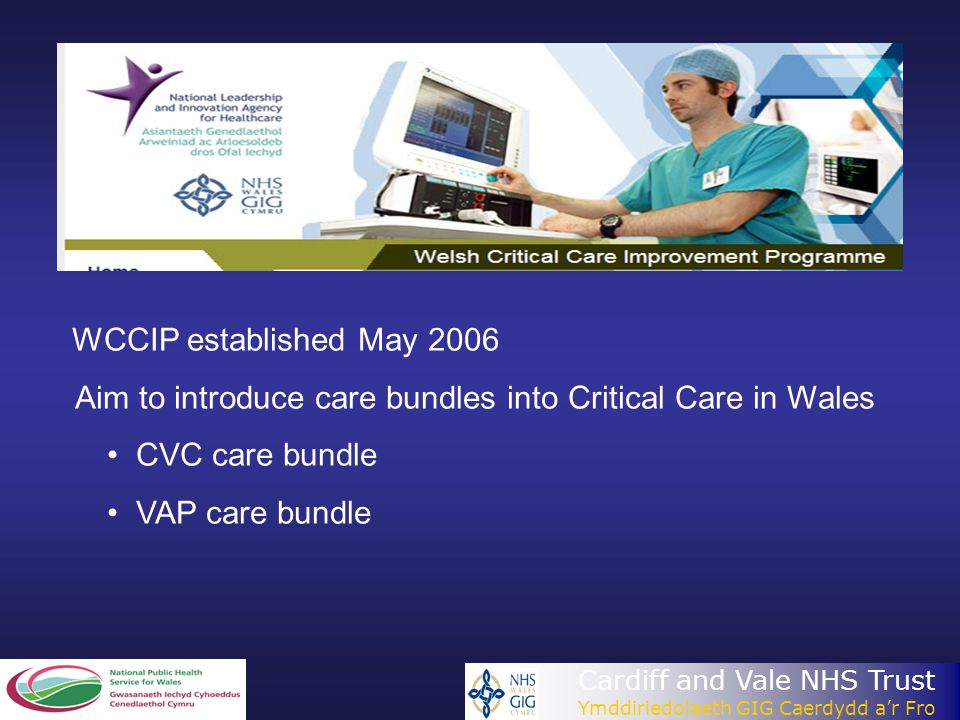 Cardiff and Vale NHS Trust Ymddiriedolaeth GIG Caerdydd a'r Fro WCCIP established May 2006 Aim to introduce care bundles into Critical Care in Wales C