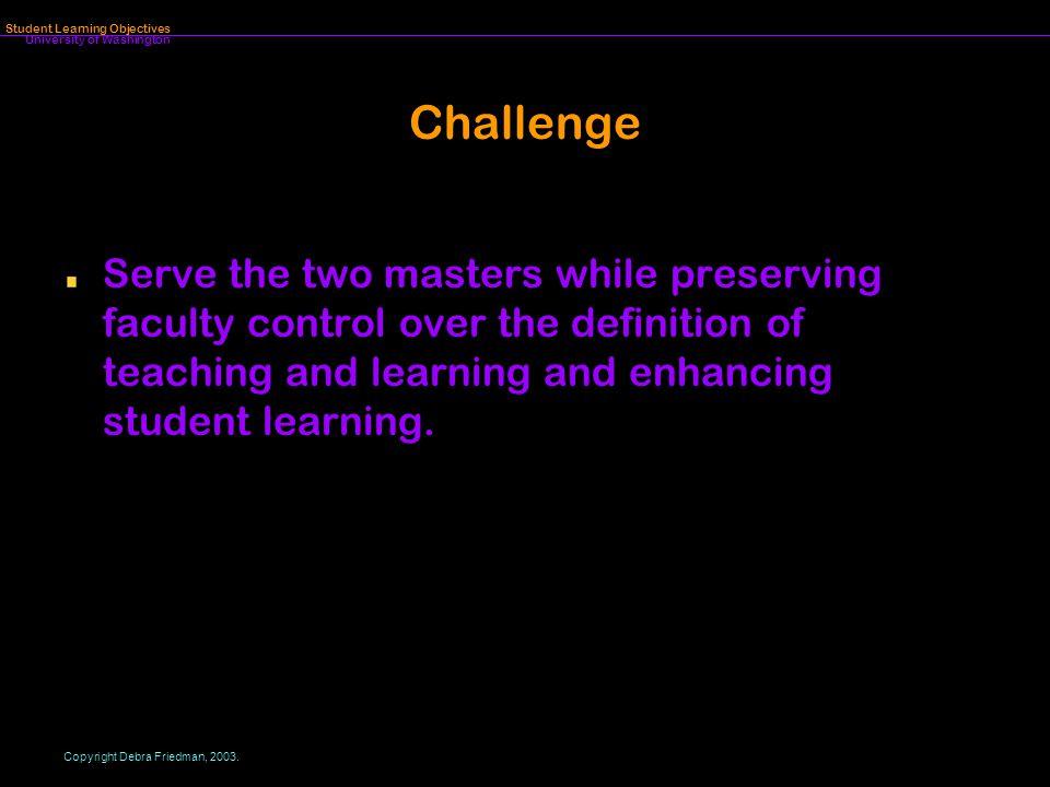 University of Washington Student Learning Objectives Copyright Debra Friedman, 2003.