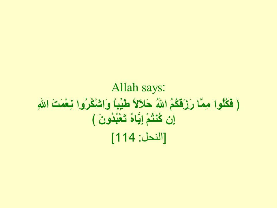 Allah says: ﴿ فَكُلُوا مِمَّا رَزَقَكُمُ اللهُ حَلاَلاً طَيِّباً وَاشْكُرُوا نِعْمَتَ اللهِ إِن كُنتُمْ إِيَّاهُ تَعْبُدُونَ ﴾ [ النحل : 114]
