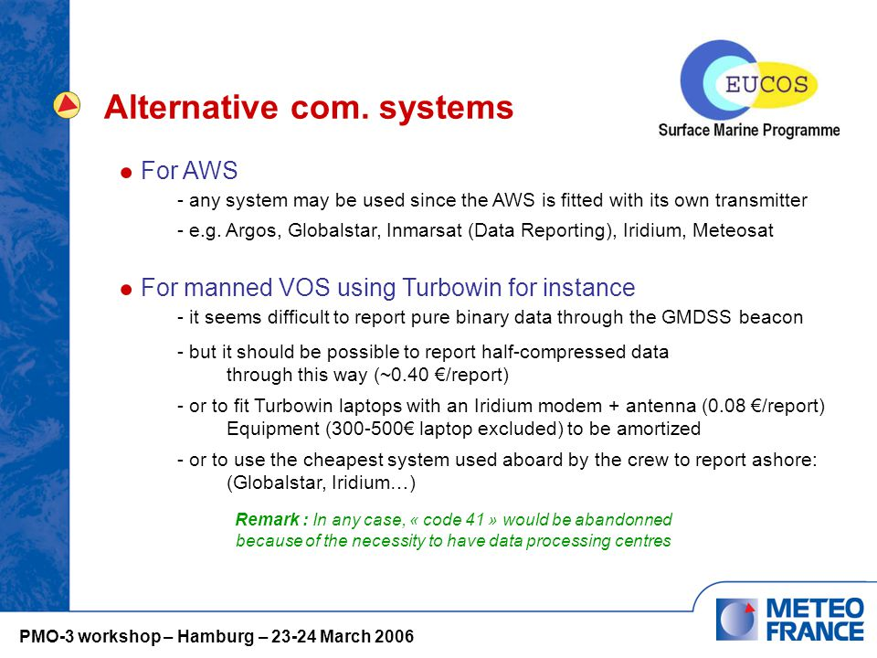 Alternative com. systems For AWS - any system may be used since the AWS is fitted with its own transmitter - e.g. Argos, Globalstar, Inmarsat (Data Re