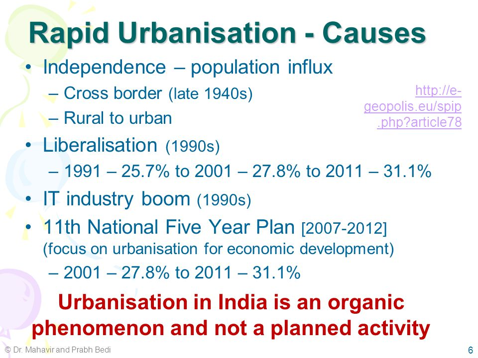 Urbanisation Trends in India 5 © Dr. Mahavir and Prabh Bedi By 2050 55% of India's population will be living in urban areas Source: Created from data