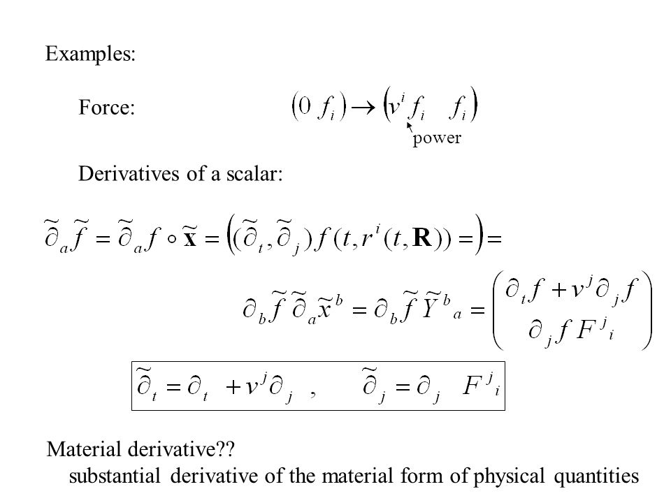 Derivatives of a scalar: Material derivative .