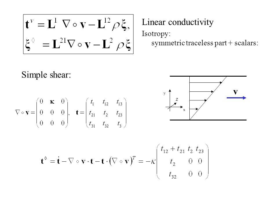Linear conductivity Isotropy: symmetric traceless part + scalars: Simple shear: v y x Z