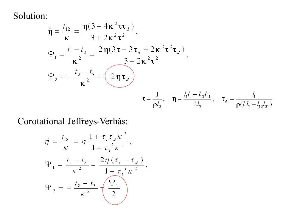 Solution: Corotational Jeffreys-Verhás: