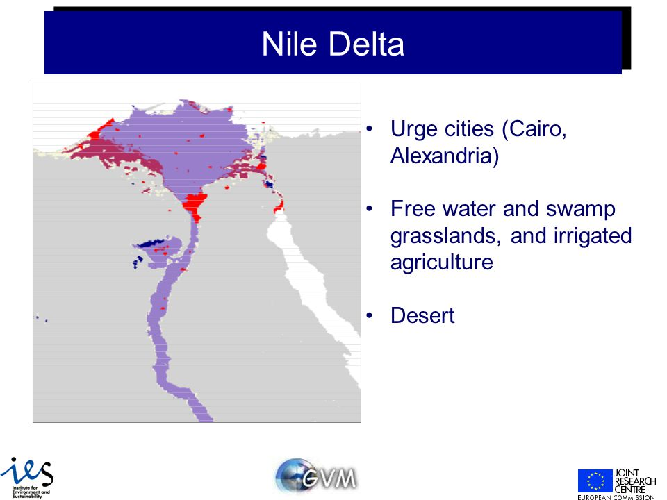 Nile Delta Urge cities (Cairo, Alexandria) Free water and swamp grasslands, and irrigated agriculture Desert