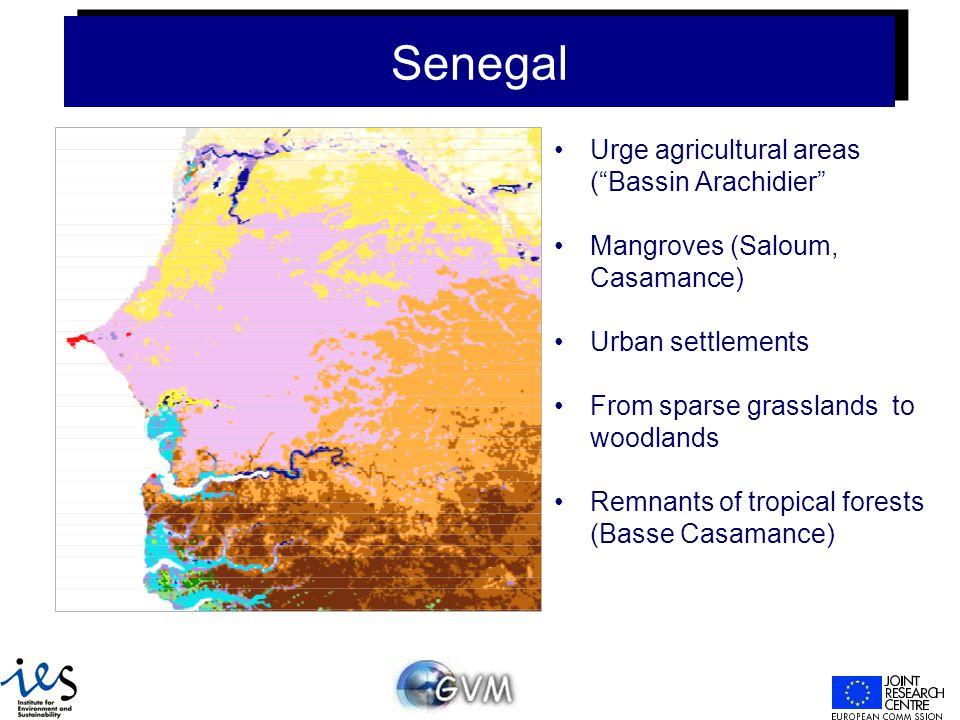 Senegal Urge agricultural areas ( Bassin Arachidier Mangroves (Saloum, Casamance) Urban settlements From sparse grasslands to woodlands Remnants of tropical forests (Basse Casamance)