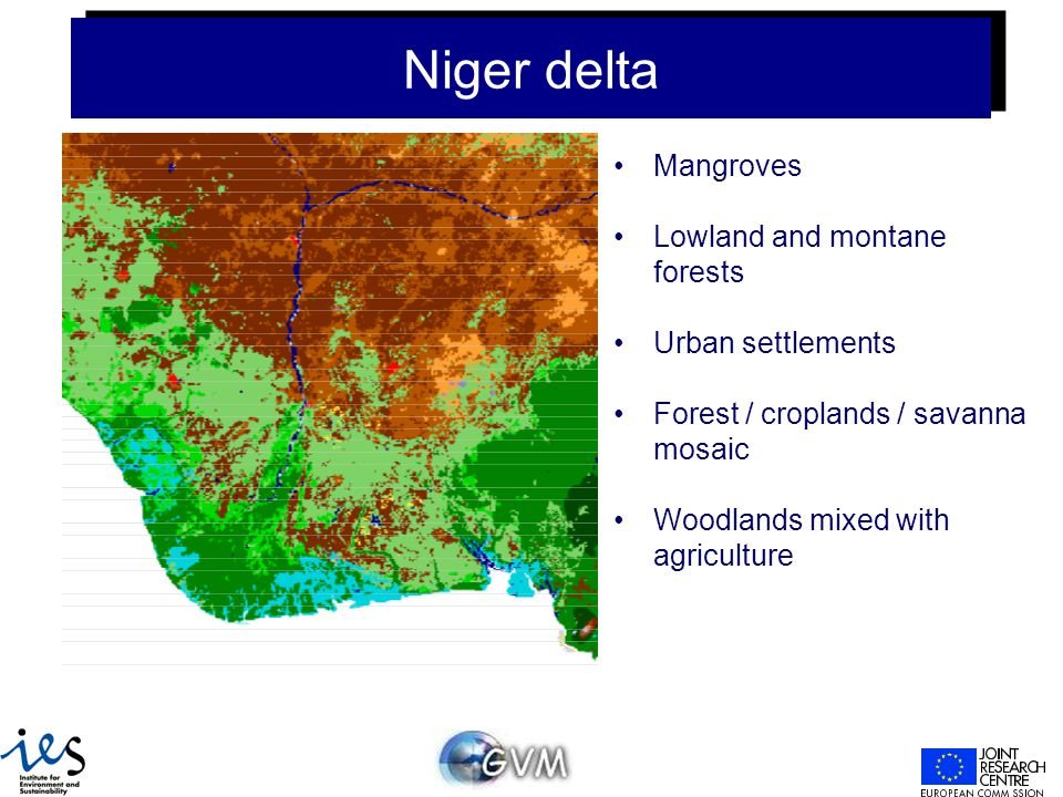 Niger delta Mangroves Lowland and montane forests Urban settlements Forest / croplands / savanna mosaic Woodlands mixed with agriculture
