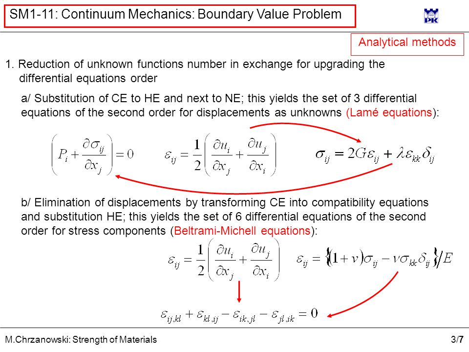 3/73/7 M.Chrzanowski: Strength of Materials SM1-11: Continuum Mechanics: Boundary Value Problem 1. Reduction of unknown functions number in exchange f