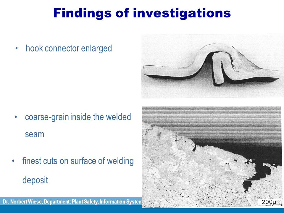 Dr. Norbert Wiese, Department: Plant Safety, Information Systems on Plants, Substances and Emissions Findings of investigations hook connector enlarge