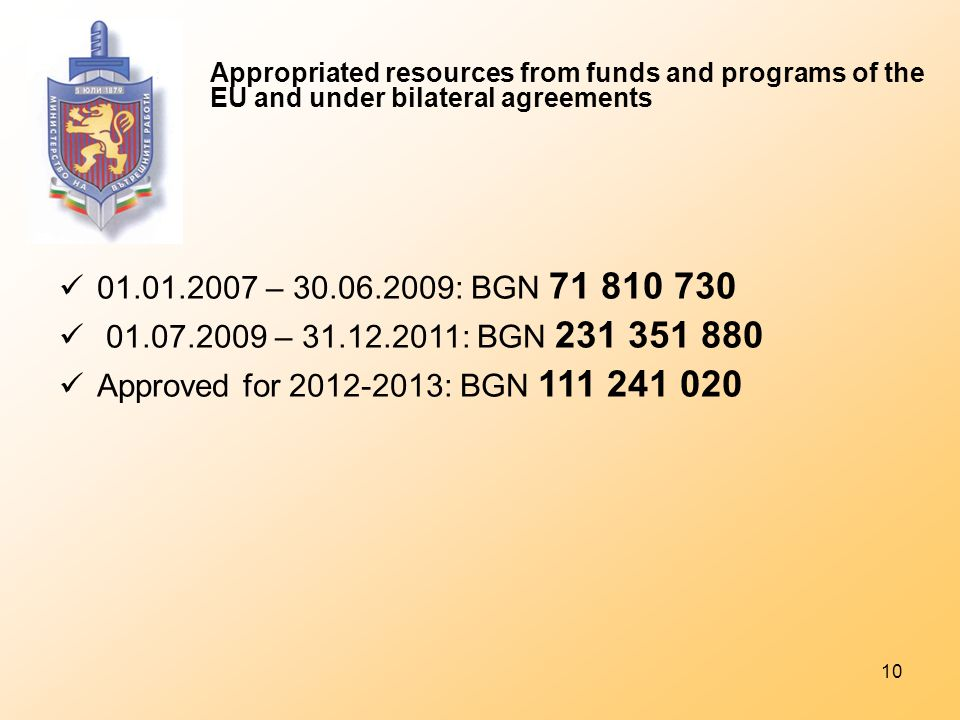 10 Appropriated resources from funds and programs of the EU and under bilateral agreements 01.01.2007 – 30.06.2009: BGN 71 810 730 01.07.2009 – 31.12.2011: BGN 231 351 880 Approved for 2012-2013: BGN 111 241 020