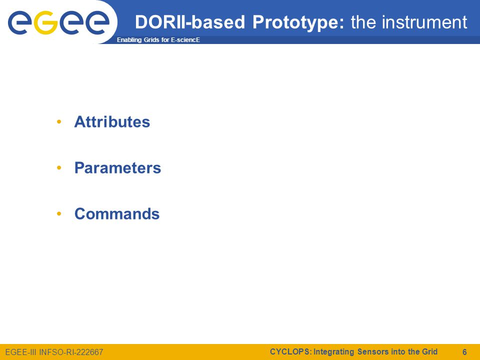 Enabling Grids for E-sciencE EGEE-III INFSO-RI-222667 CYCLOPS: Integrating Sensors into the Grid 6 DORII-based Prototype: the instrument Attributes Parameters Commands
