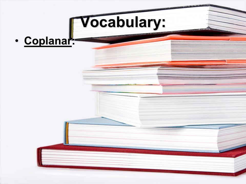 Vocabulary: Coplanar:Coplanar: