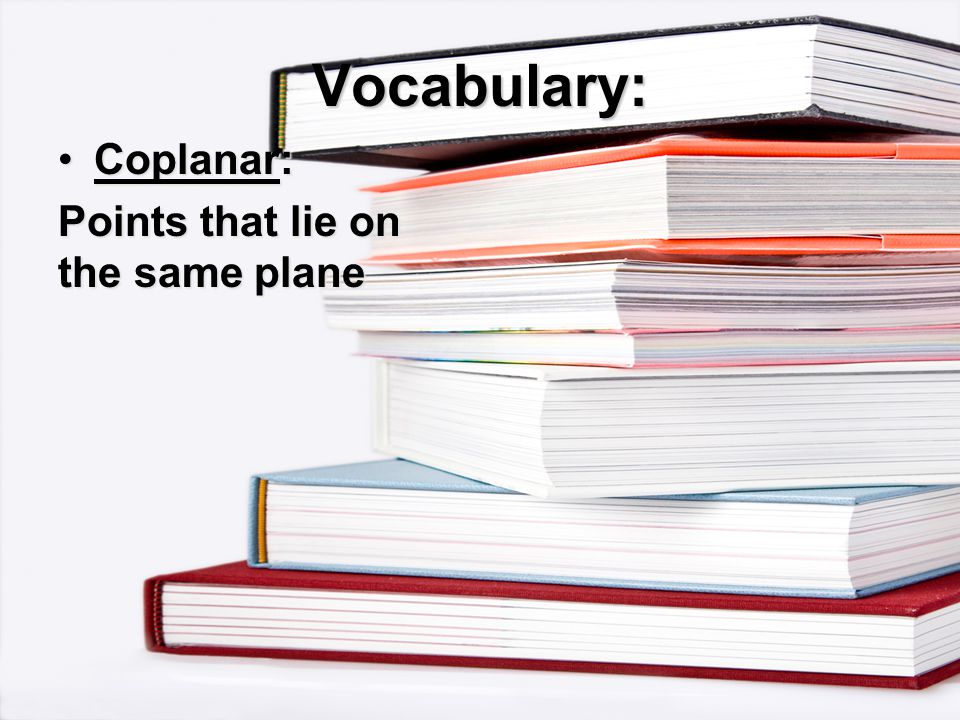 Vocabulary: Points that lie on the same plane
