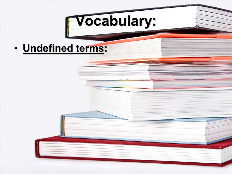 Vocabulary: Undefined terms:Undefined terms: