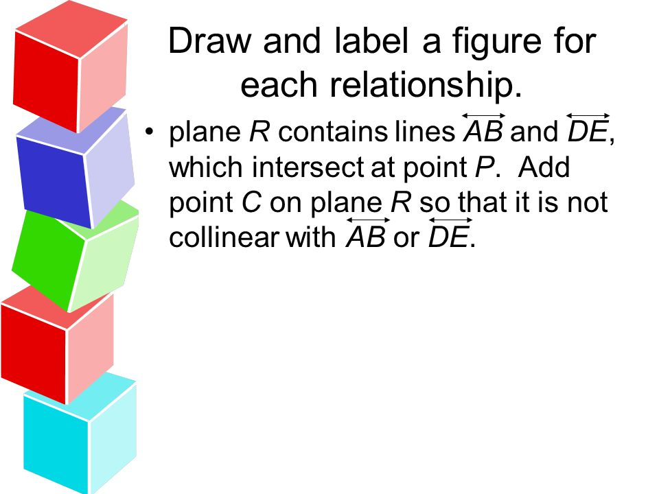 plane R contains lines AB and DE, which intersect at point P. Add point C on plane R so that it is not collinear with AB or DE.