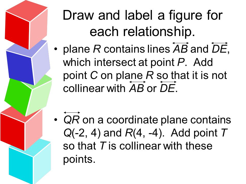 Draw and label a figure for each relationship. plane R contains lines AB and DE, which intersect at point P. Add point C on plane R so that it is not