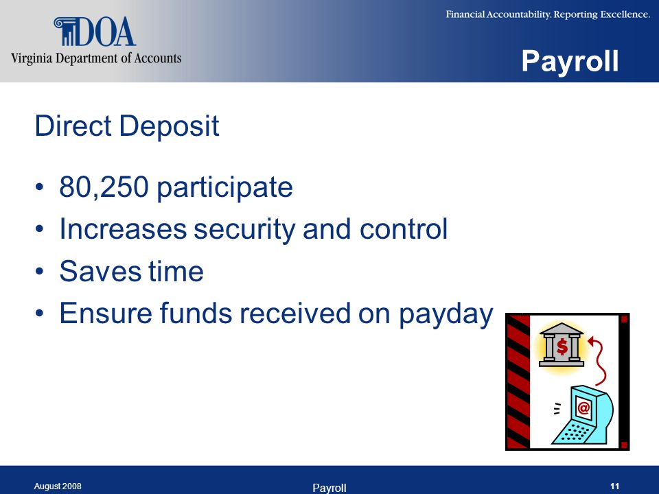 August 2008 Payroll 11 Payroll Direct Deposit 80,250 participate Increases security and control Saves time Ensure funds received on payday