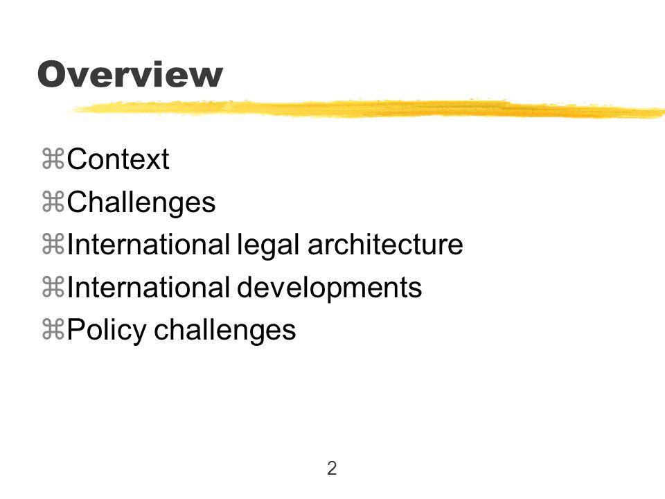 2 Overview zContext zChallenges zInternational legal architecture zInternational developments zPolicy challenges