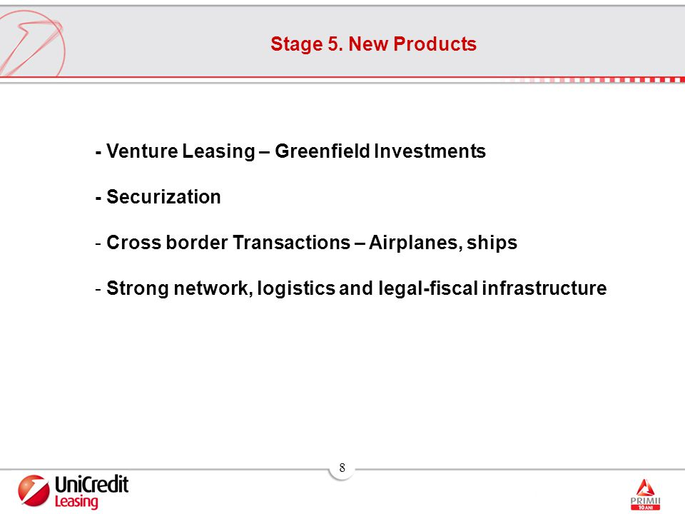 8 Stage 5. New Products - Venture Leasing – Greenfield Investments - Securization - Cross border Transactions – Airplanes, ships - Strong network, log