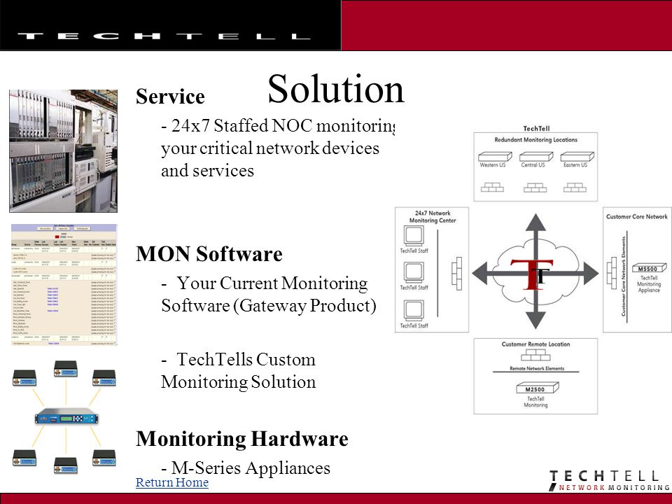 Solution Service - 24x7 Staffed NOC monitoring your critical network devices and services MON Software - Your Current Monitoring Software (Gateway Product) - TechTells Custom Monitoring Solution Monitoring Hardware - M-Series Appliances Return Home