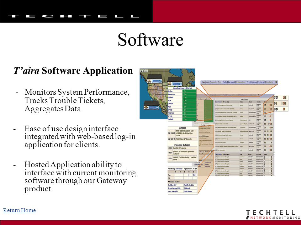 Software T'aira Software Application - Monitors System Performance, Tracks Trouble Tickets, Aggregates Data -Ease of use design interface integrated w