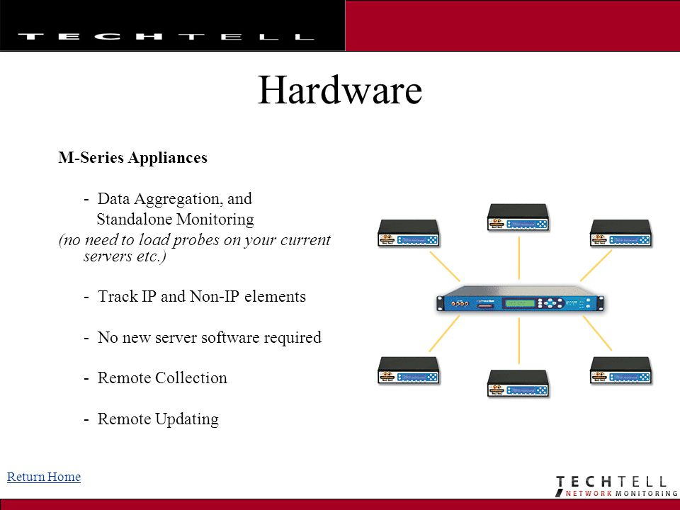 Hardware M-Series Appliances - Data Aggregation, and Standalone Monitoring (no need to load probes on your current servers etc.) - Track IP and Non-IP elements - No new server software required - Remote Collection - Remote Updating Return Home