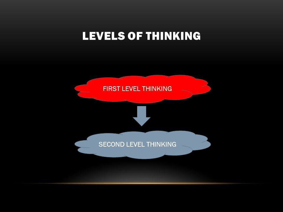 LEVELS OF THINKING FIRST LEVEL THINKING SECOND LEVEL THINKING