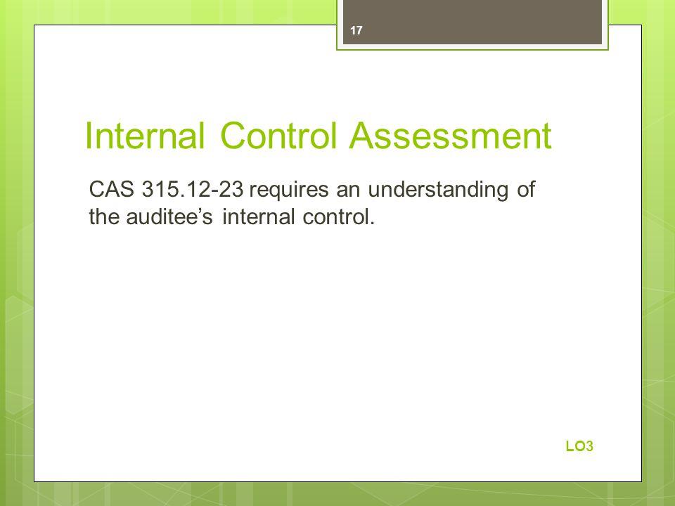 Internal Control Assessment CAS 315.12-23 requires an understanding of the auditee's internal control. LO3 17