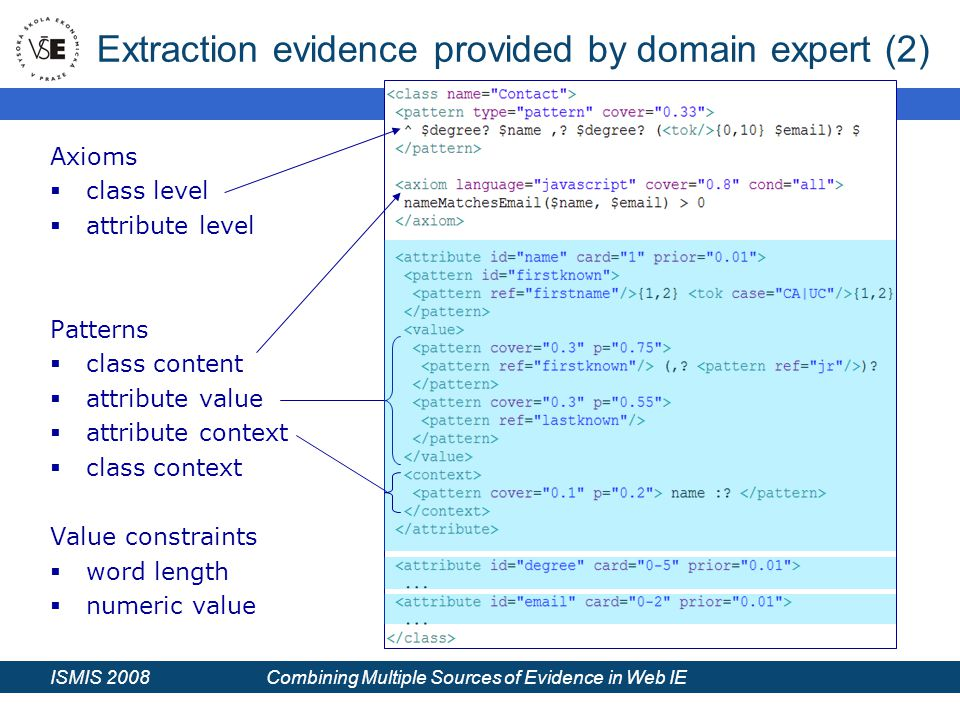ISMIS 2008 Combining Multiple Sources of Evidence in Web IE Extraction evidence provided by domain expert (2) Axioms  class level  attribute level Patterns  class content  attribute value  attribute context  class context Value constraints  word length  numeric value