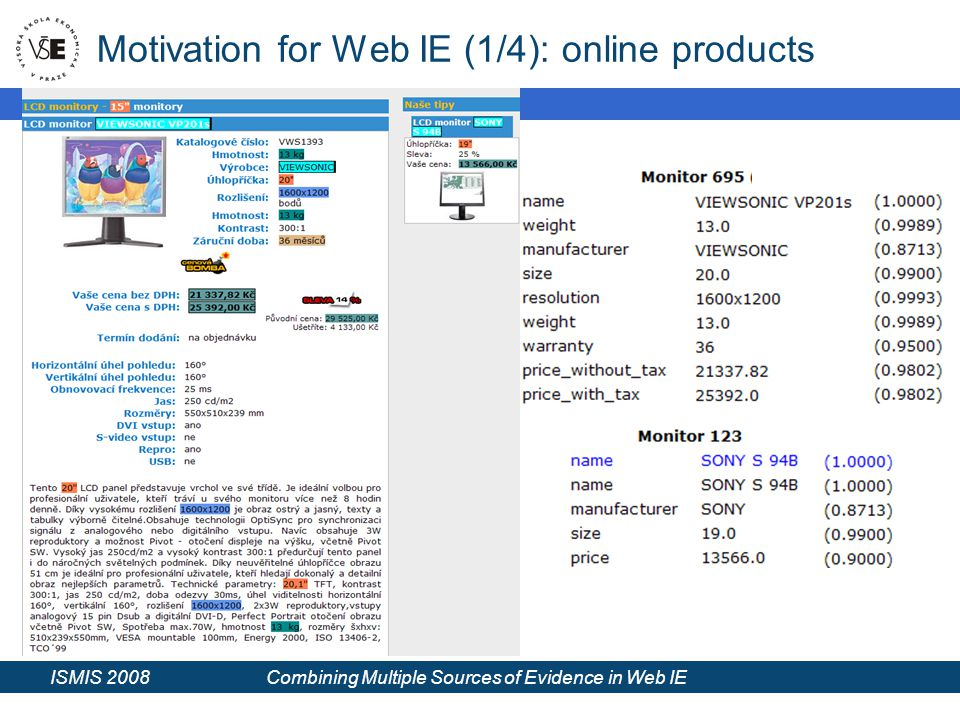 ISMIS 2008 Combining Multiple Sources of Evidence in Web IE Motivation for Web IE (1/4): online products