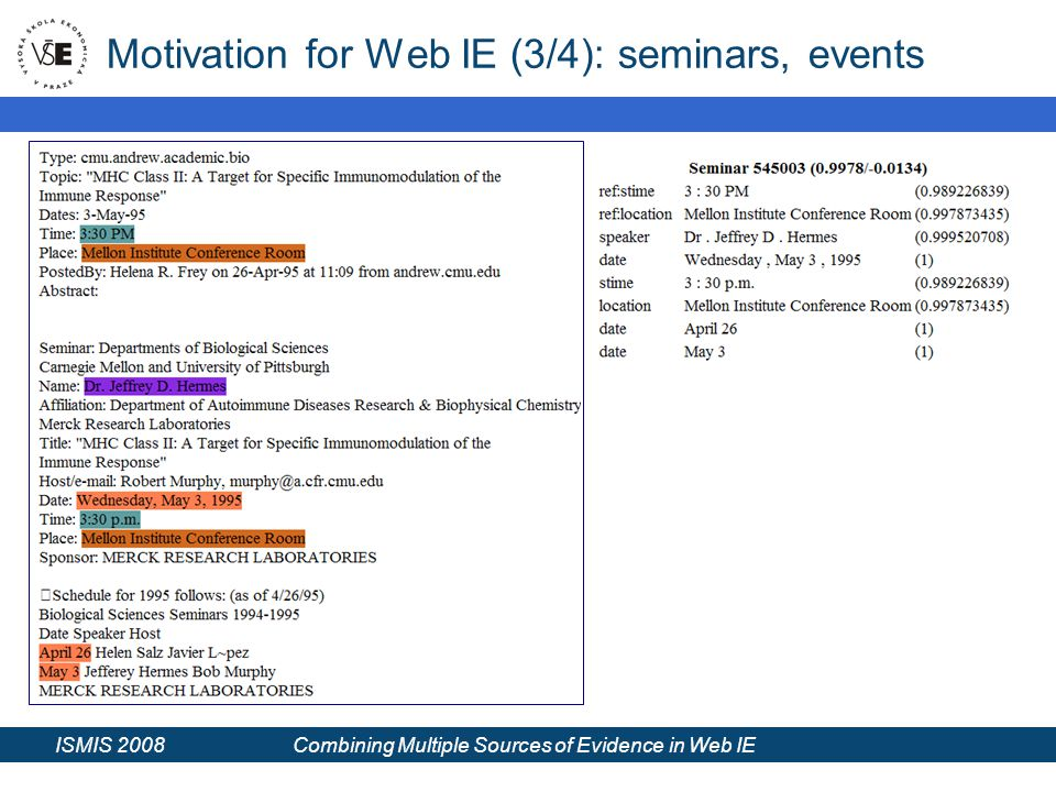 ISMIS 2008 Combining Multiple Sources of Evidence in Web IE Motivation for Web IE (3/4): seminars, events