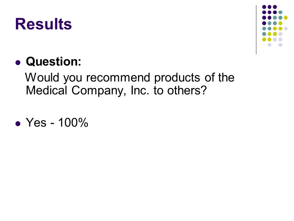 Results Question: Would you recommend products of the Medical Company, Inc. to others? Yes - 100%