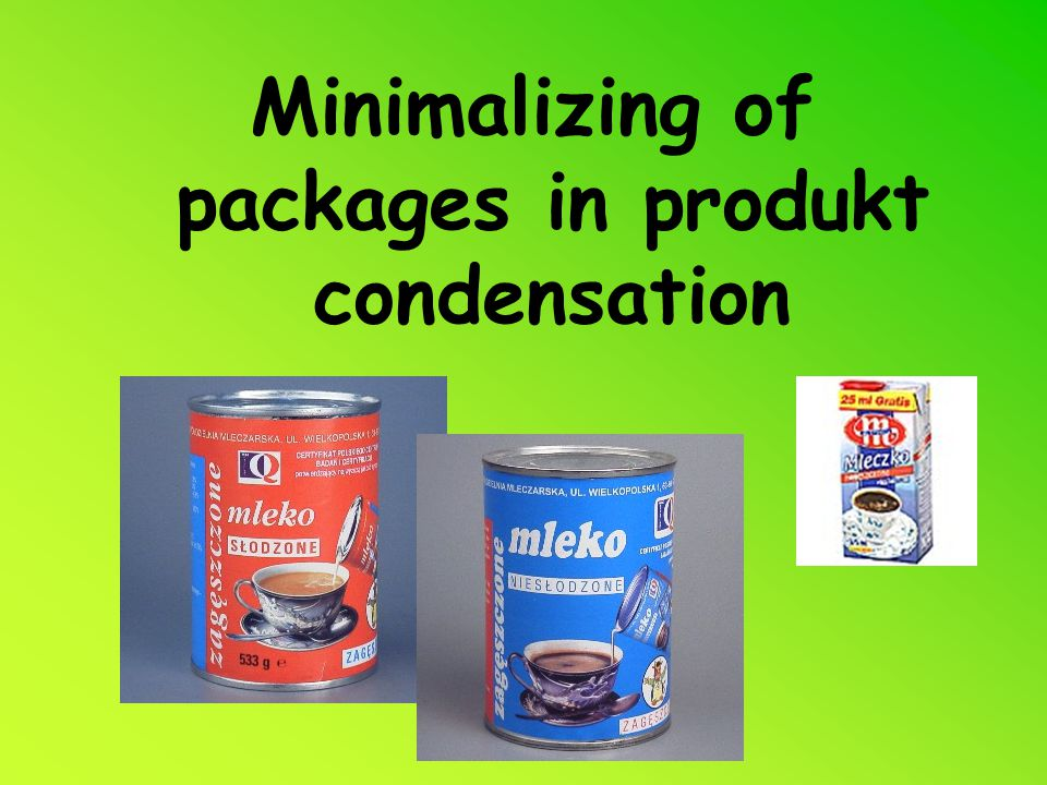 Minimalizing of packages in produkt condensation