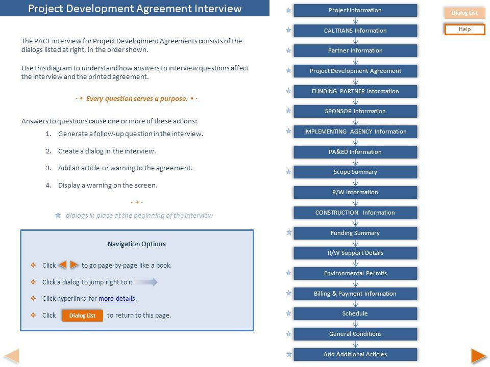 Dialog List Help Caltrans Information Partner Information Project