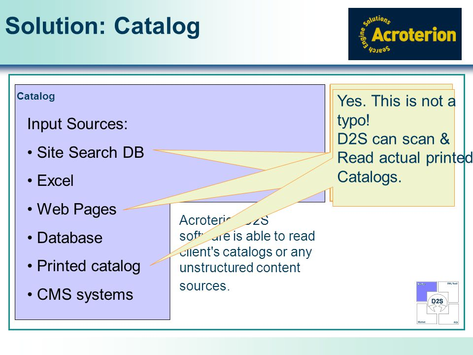 Solution: Catalog Catalog Acroterion D2S software is able to read client s catalogs or any unstructured content sources.