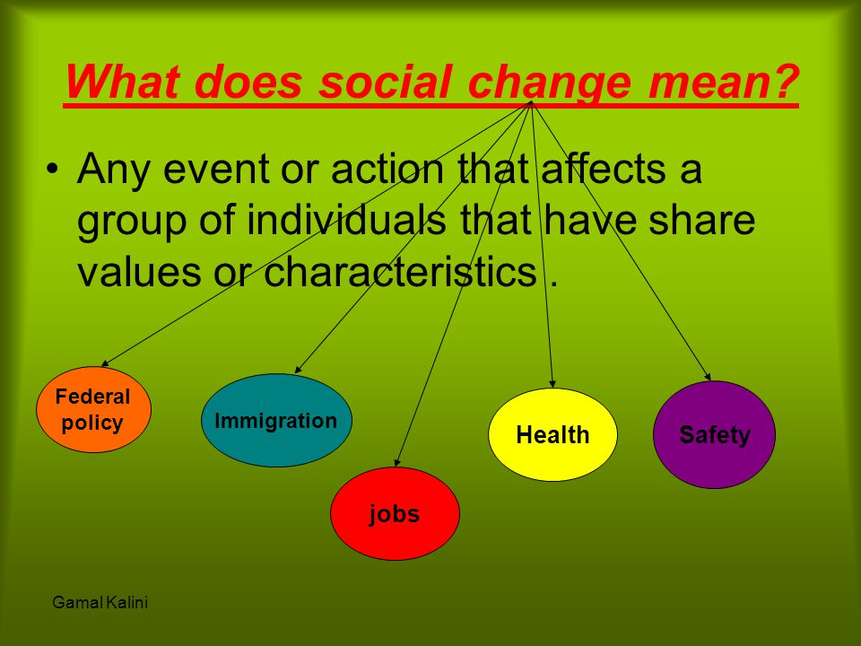 What does social change mean? Any event or action that affects a group of individuals that have share values or characteristics. Federal policy Immigr