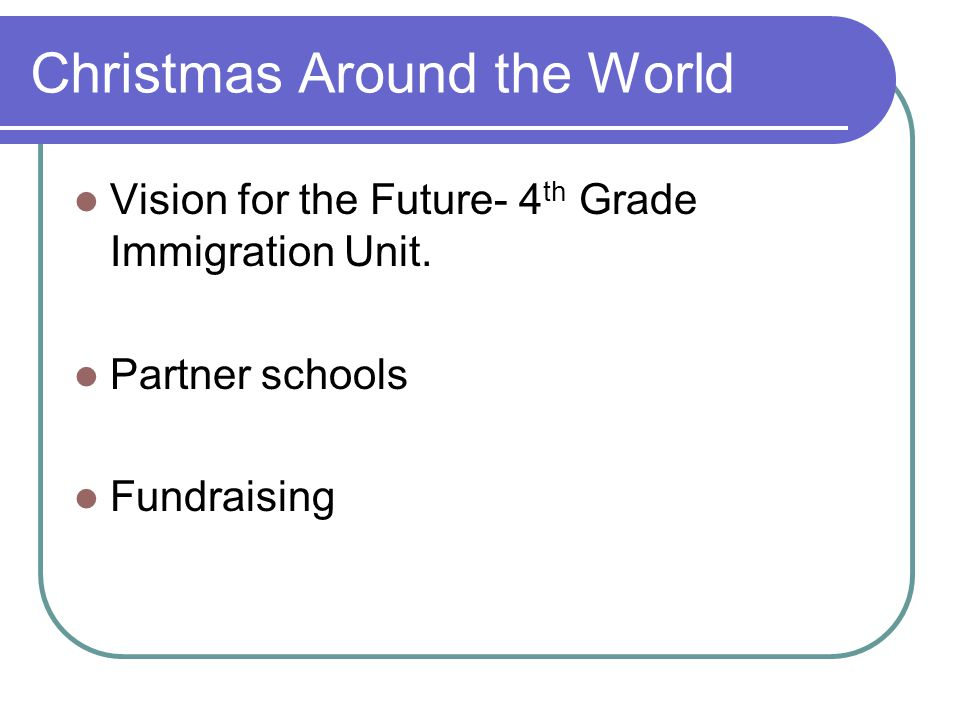 Christmas Around the World Vision for the Future- 4 th Grade Immigration Unit.