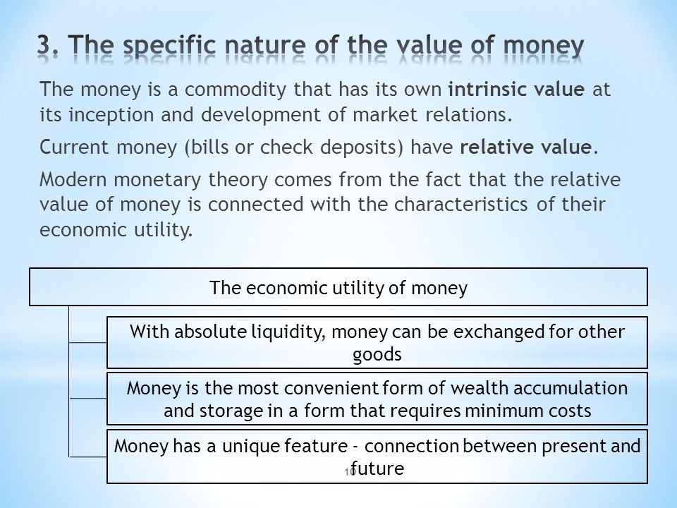 10 The money is a commodity that has its own intrinsic value at its inception and development of market relations.