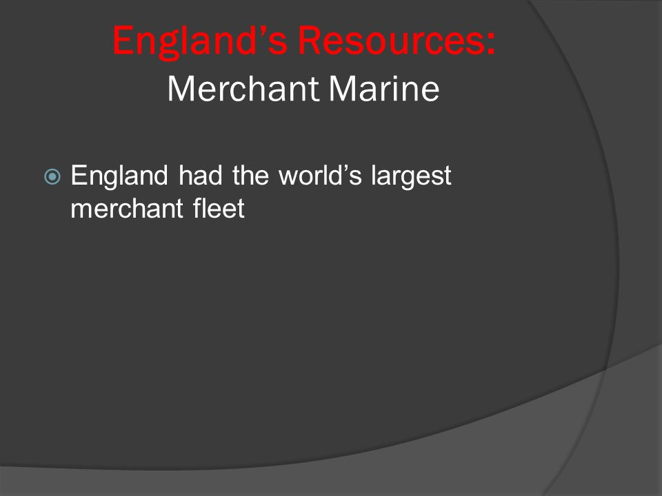 England's Resources: Raw Materials  England had a large amount of Coal to power steam engines and other machines  England also had a lot of Iron  Agriculturally stable