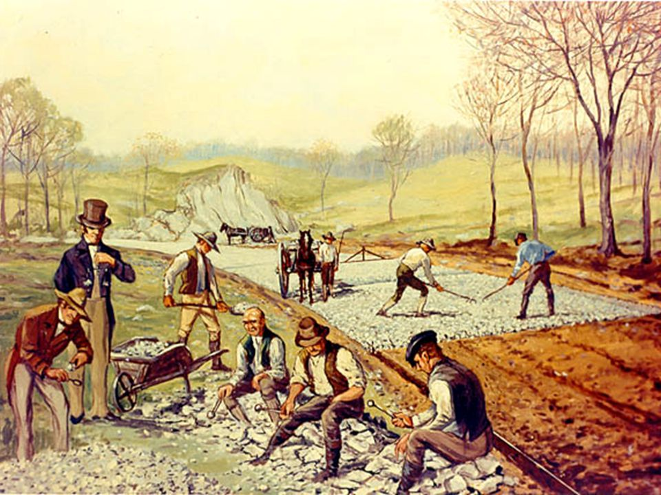 Transportation  Strong, hard roads were invented around 1820  This eliminated gravel and dirt roads