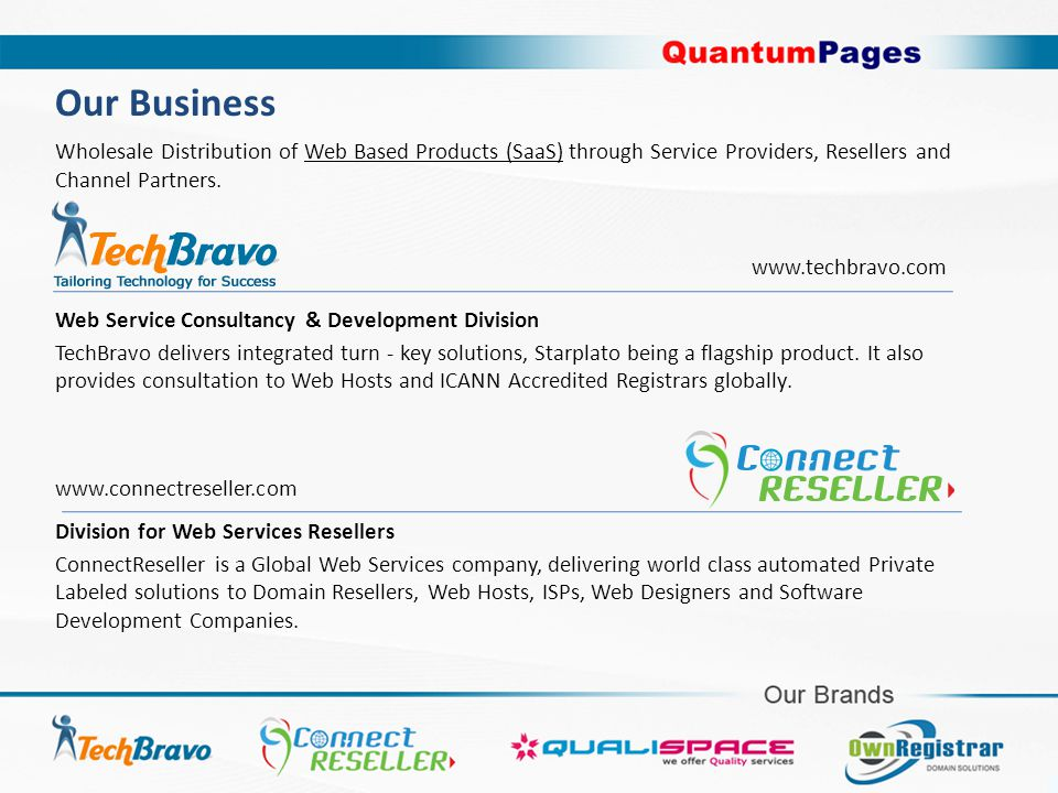Wholesale Distribution of Web Based Products (SaaS) through Service Providers, Resellers and Channel Partners.