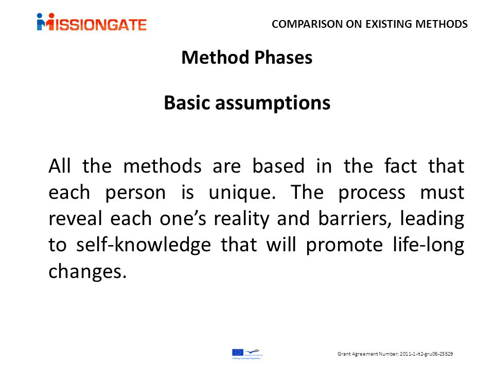 Method Phases Basic assumptions All the methods are based in the fact that each person is unique.