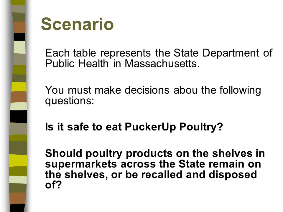 Scenario Each table represents the State Department of Public Health in Massachusetts. You must make decisions abou the following questions: Is it saf